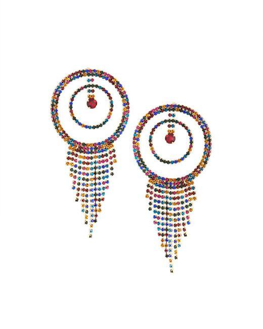 Fragments - Metallic Multicolor Rhinestone Hoop & Fringe Earrings - Lyst