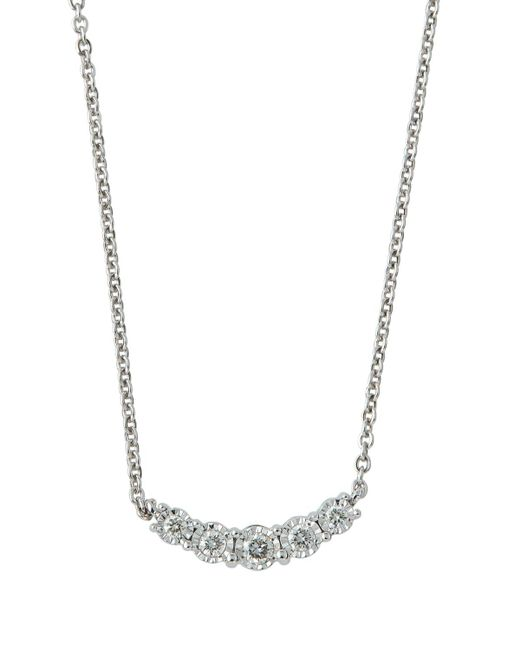Neiman Marcus | 14k White Gold Diamond Curved Bar Necklace | Lyst
