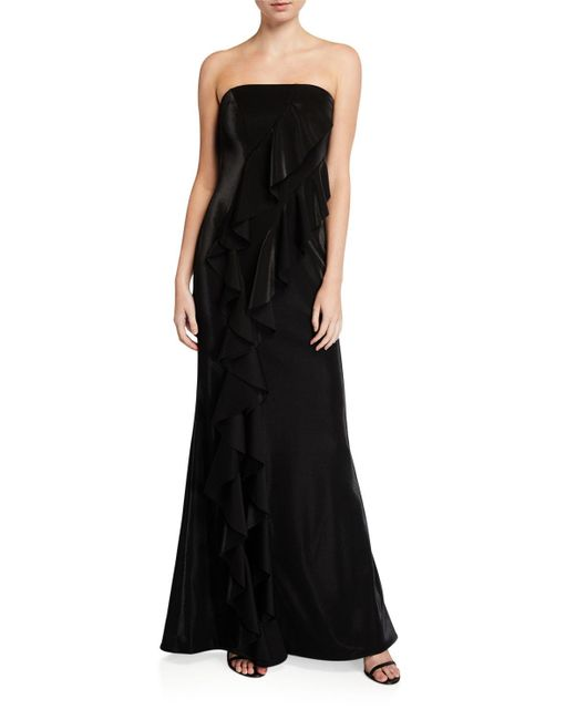Jay Godfrey Red Steele Strapless Ruffle A-line Evening Gown