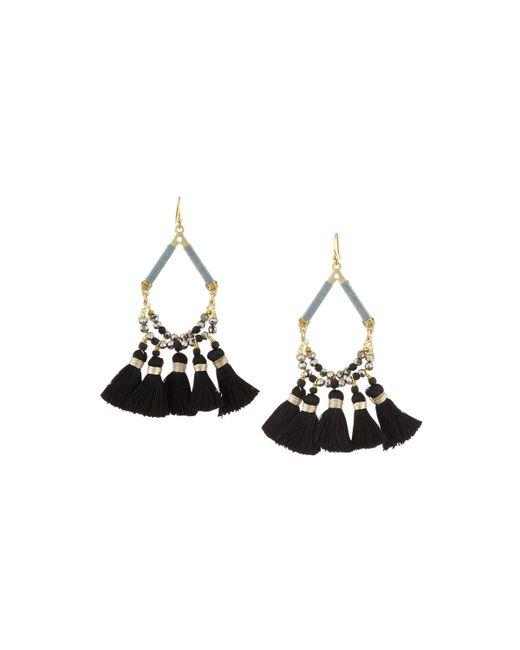 Nakamol | Black Mini Tassel Open Teardrop Earrings | Lyst