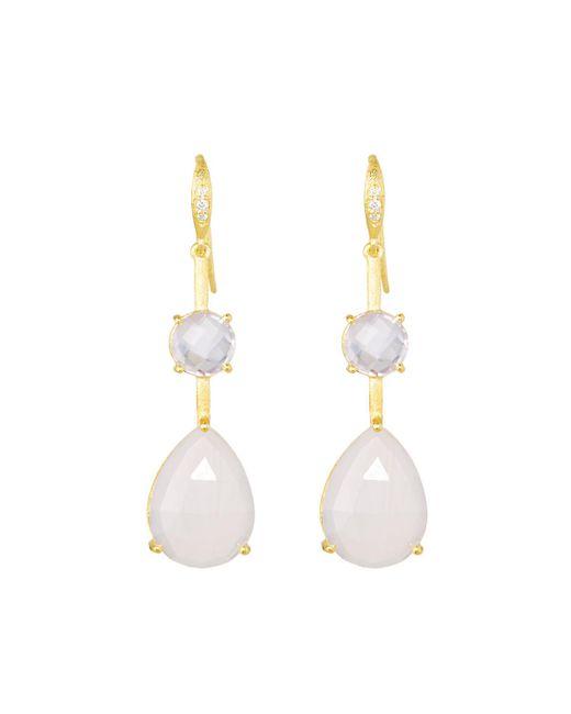 Indulgems - Pink Double Stone Drop Earrings - Lyst