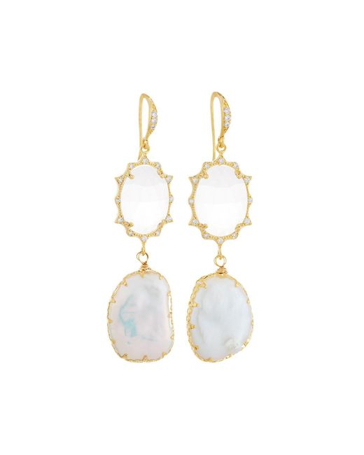 Indulgems | White Cz Crystal & Baroque Pearl Double-drop Earrings | Lyst