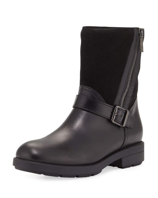 Aquatalia | Black Laura Mixed Leather Zip Boot | Lyst