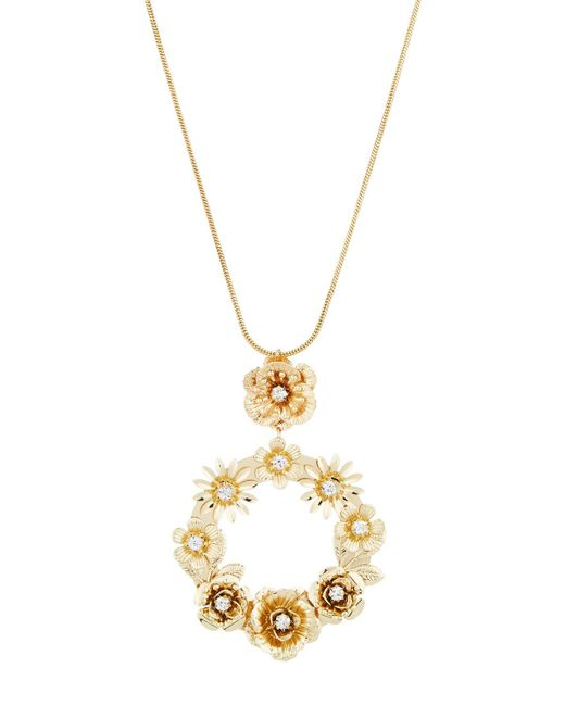 Fragments - Metallic Floral Hoop Pendant Necklace - Lyst