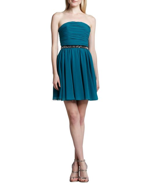 Erin Fetherston   Blue Strapless Fit-and-flare Dress   Lyst