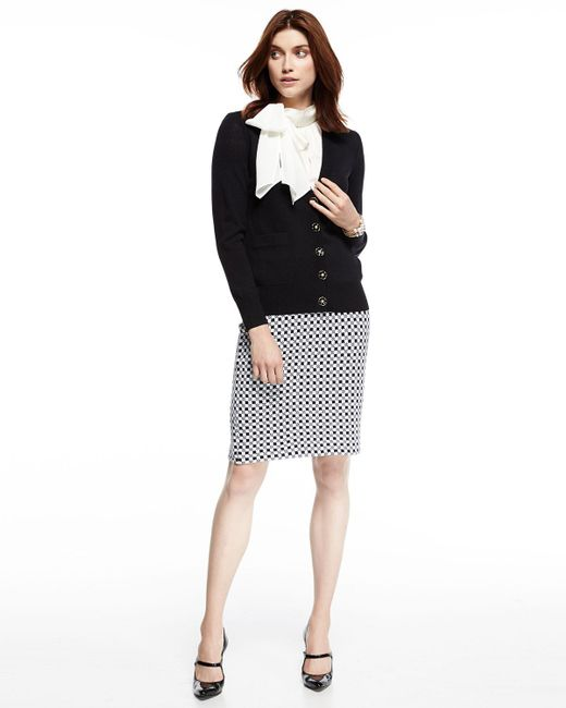 st checkered knit pencil skirt in white lyst