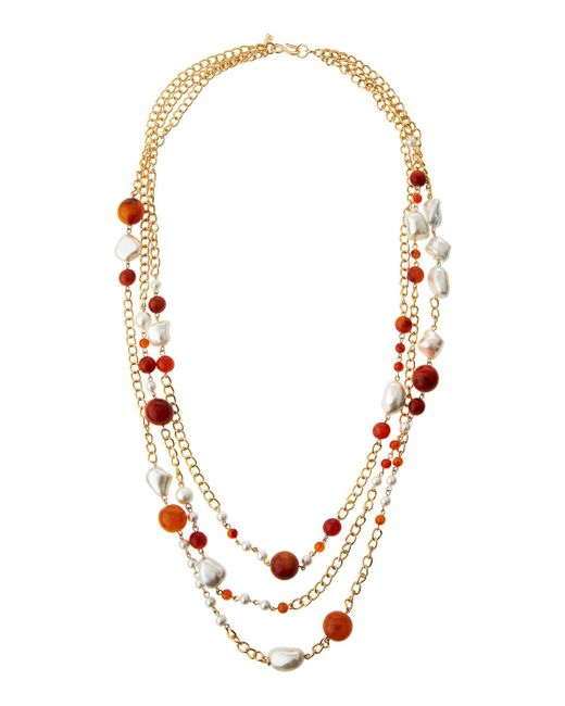 Multi Row Pearl Necklace: Kenneth Jay Lane Long Triple-row Beaded Amazonite & Pearl