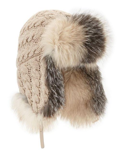 Inverni   Natural Cashmere Cable Trapper Hat W/fur Trim   Lyst