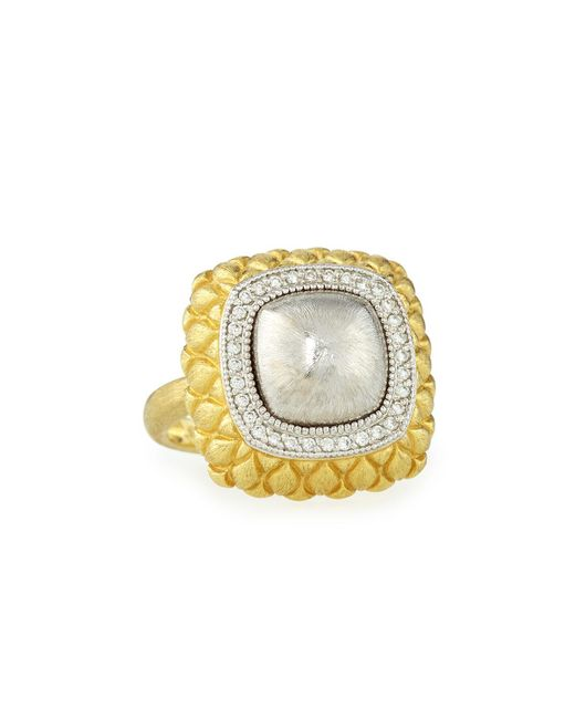 Jude Frances | Metallic Pave Diamond Quilted Two-tone Cushion Ring | Lyst