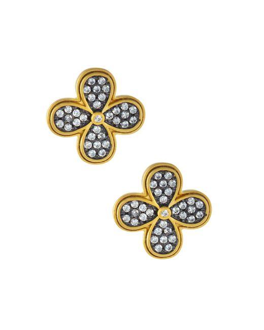 Freida Rothman - Metallic Oversized Pave Clover Stud Earrings - Lyst