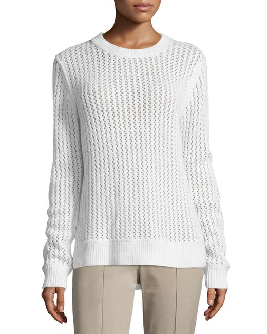 Michael Kors - White Long-sleeve Zigzag-ribbed Sweater - Lyst