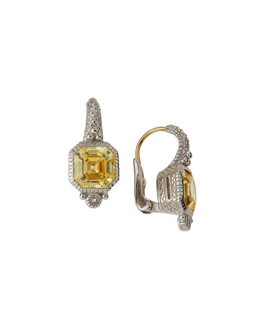 Judith Ripka | Yellow Estate Asscher-cut Cz Drop Earrings | Lyst