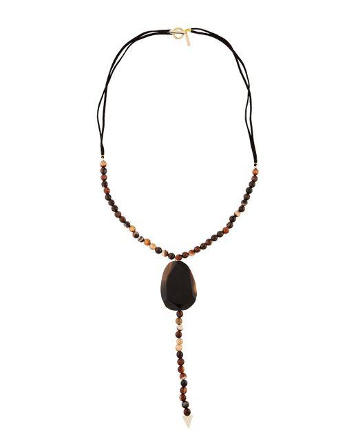 Panacea | Brown Long Stone-beaded Y-drop Necklace | Lyst