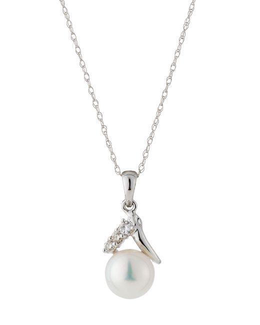 Belpearl   14k White Gold Pearl & Diamond Pendant Necklace   Lyst