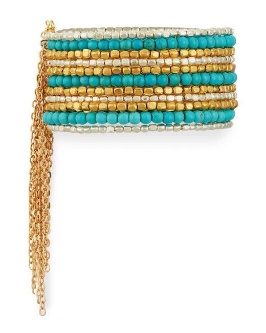 Panacea Wide Beaded Cuff Bracelet W/ Chain Fringe in Blue ...