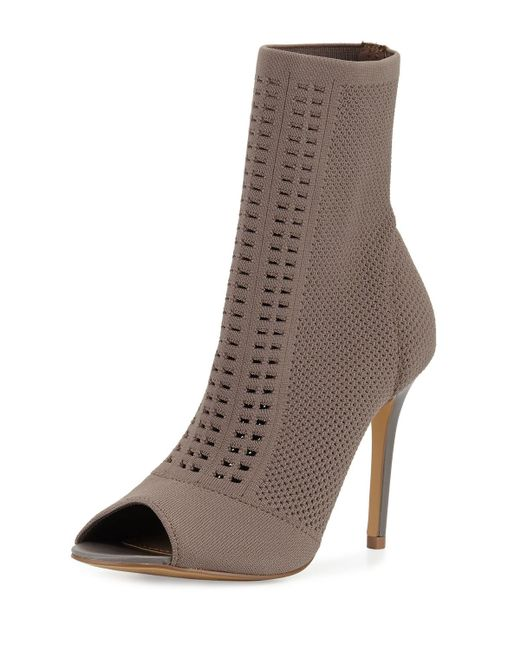 Charles by Charles David | Black Rebellious Mesh-knit Open-toe Bootie | Lyst