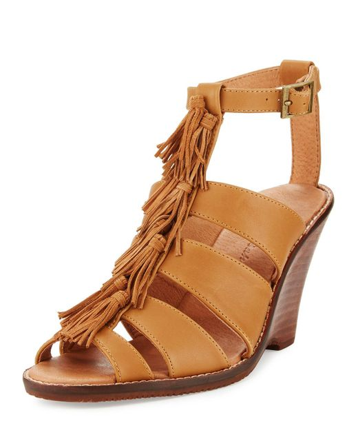Tommy Bahama | Brown Palrinna Fringe Wedge Sandal | Lyst