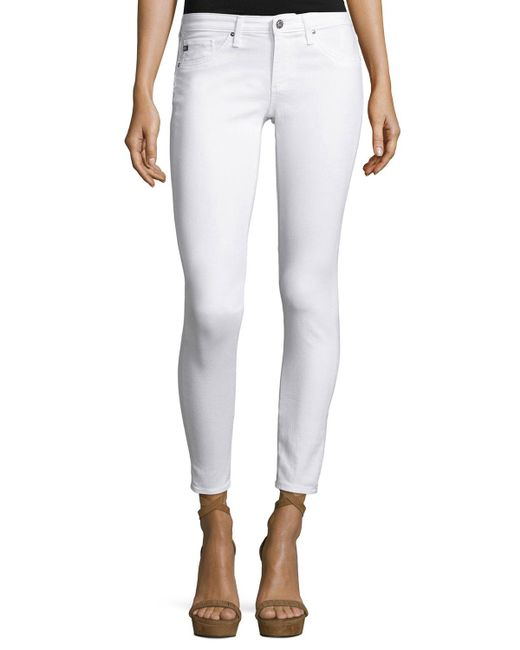 AG Jeans   White Skinny Ankle Jeans   Lyst