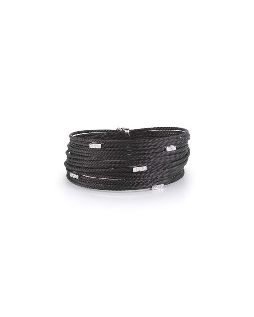 Alor   Black Noir Multi-row Micro-cable Bracelet W/ Diamonds   Lyst