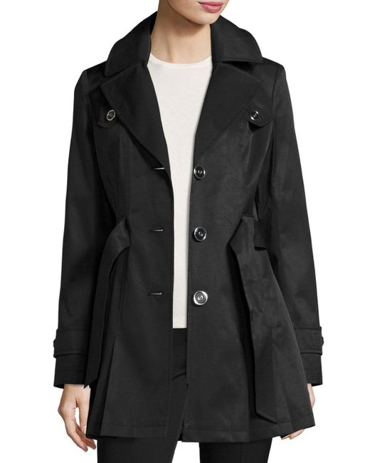 Via Spiga Water Resistant Belted Trench Coat In Black Lyst