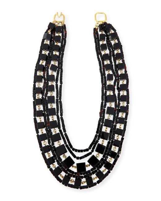 Kenneth Jay Lane | Black Multi-strand Beaded Cube Necklace | Lyst