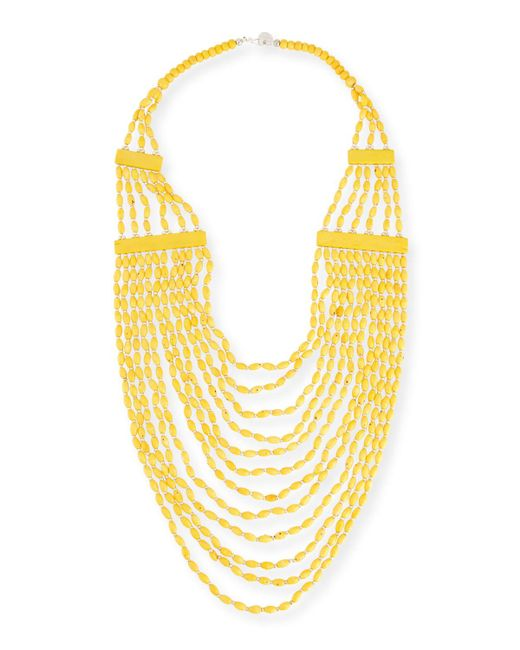 Devon Leigh   Yellow Beaded Multi-strand Long Necklace   Lyst