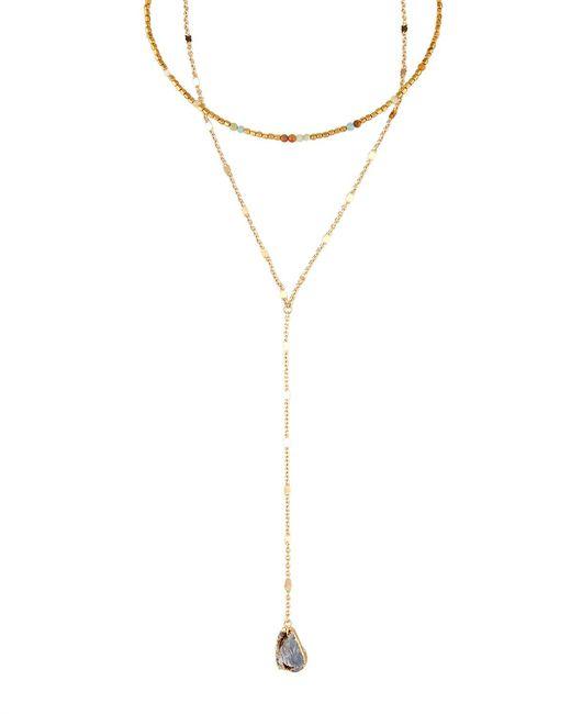 Panacea | Multicolor Amazonite & Druzy Long Layered Choker Necklace | Lyst