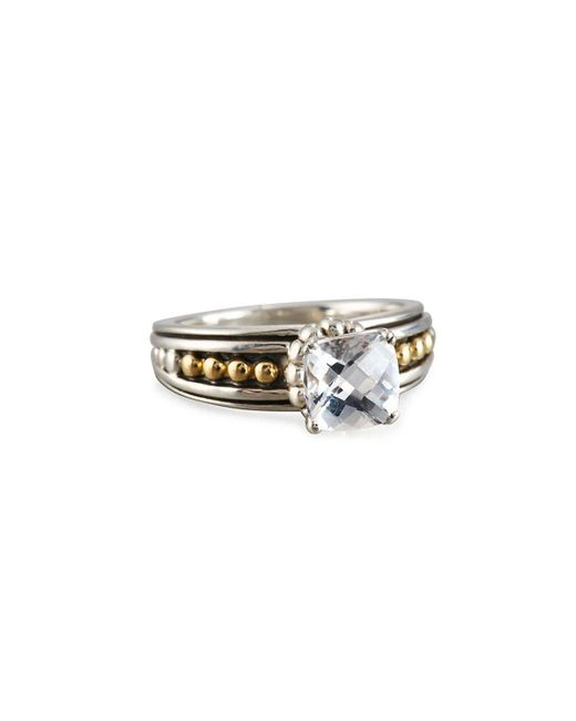 lagos prism cushion cut white topaz ring in white lyst