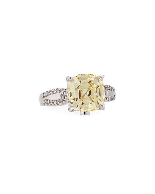 Fantasia by Deserio   Yellow Cushion-cut Canary Cz Crystal Ring   Lyst