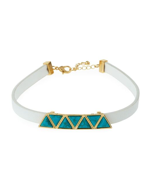 Fragments | Blue Faux-leather Station Choker W/ Simulated Turquoise | Lyst