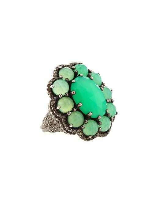 Bavna | Green Chrysoprase & Pavé Diamond Cluster Ring | Lyst