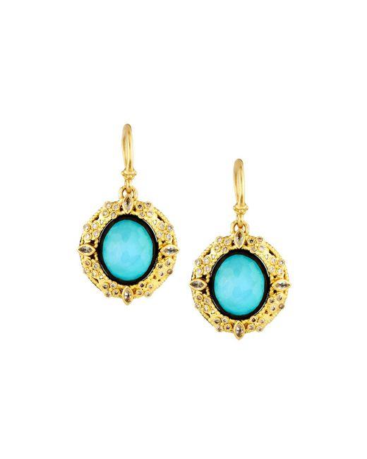 Armenta | Blue 18k Turquoise & Moonstone Doublet Drop Earrings W/ Diamonds | Lyst