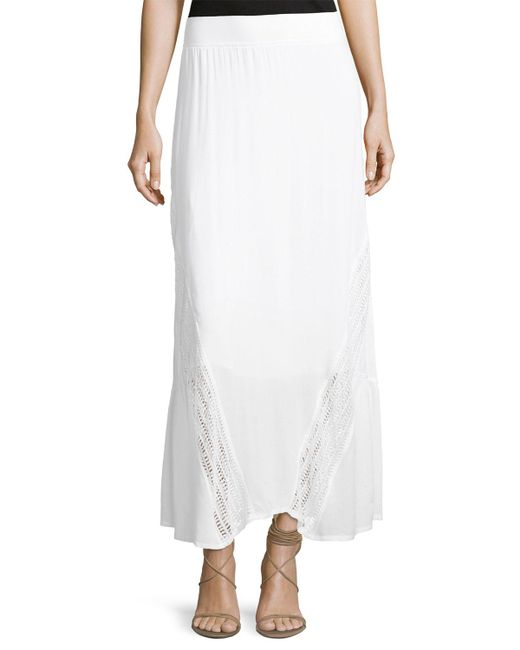 XCVI | White Moe Lace-inset Voile Maxi Skirt | Lyst