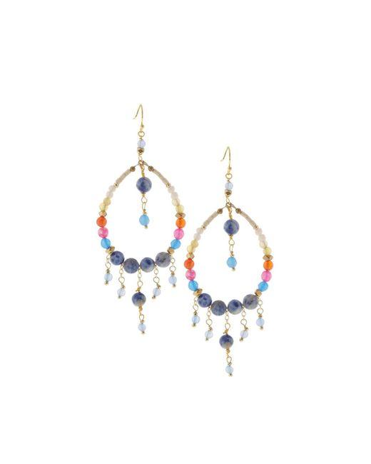 Nakamol   Blue Beaded Hoop Fringe Earrings   Lyst