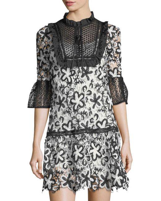 Haute Rogue | Black Amelie Daisy-lace Drop-waist Dress | Lyst