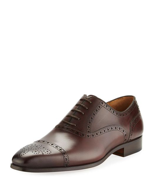 Neiman Marcus   Brown Leather Brogue Wing-tip Oxford for Men   Lyst