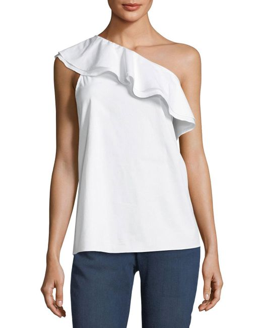 Vince Camuto   White Ruffled One-shoulder Top   Lyst