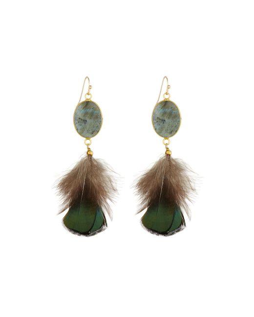 Panacea | Gray Labradorite & Feather Dangle Earrings | Lyst