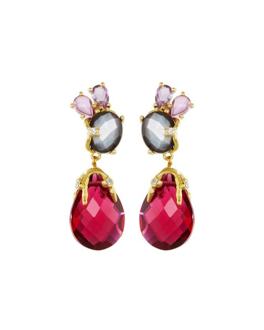 Indulgems | Multicolor Mixed Gemstone Statement Drop Earrings | Lyst