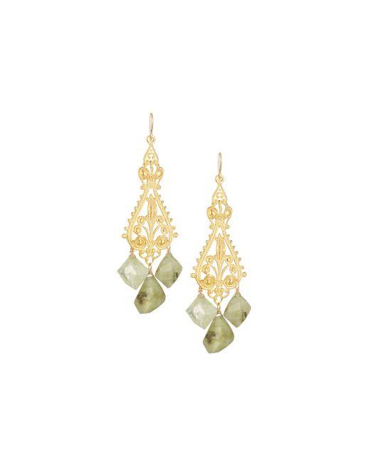 Devon Leigh | Ornate Filigree Drop Earrings W/ Green Garnets | Lyst