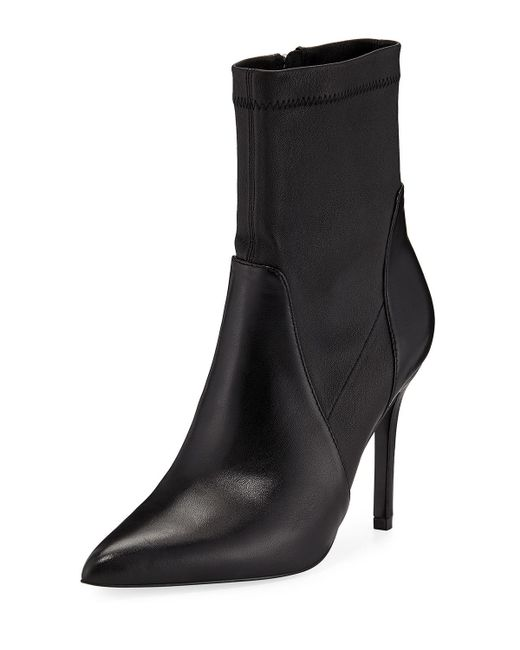Charles David Black Laurent Stretch Leather Booties
