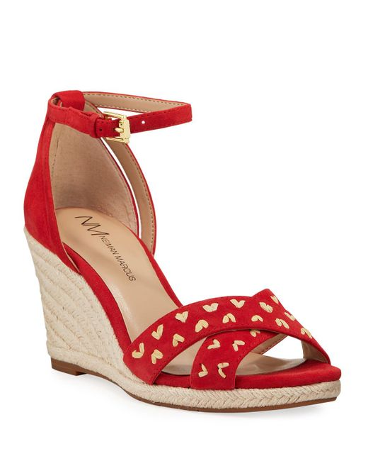 Neiman Marcus Red Mollee Nubuck Ankle-strap Wedge Espadrilles