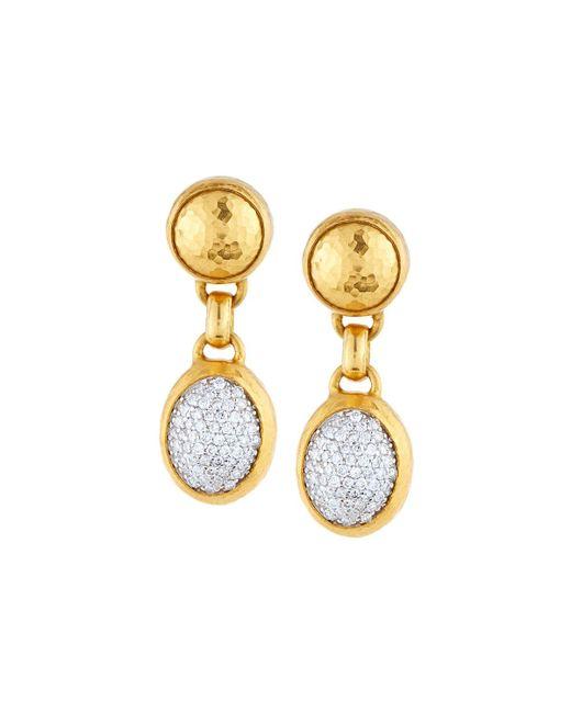 Gurhan | Metallic Amulet 24k Pave Diamond Double-drop Earrings | Lyst