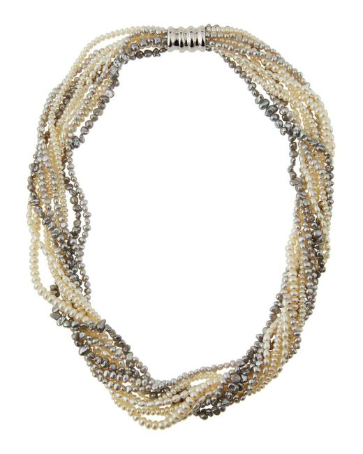 Belpearl   Metallic 10-row Freshwater Pearl Torsade Necklace   Lyst