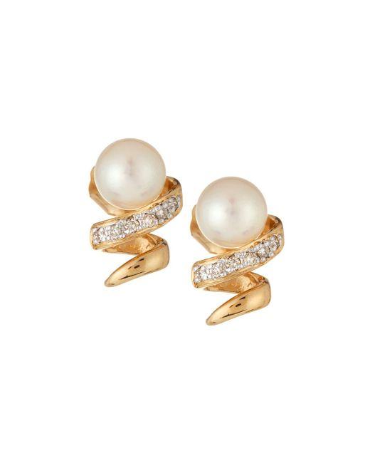 Belpearl | Metallic 14k Freshwater Pearl & Diamond Swirl Stud Earrings | Lyst