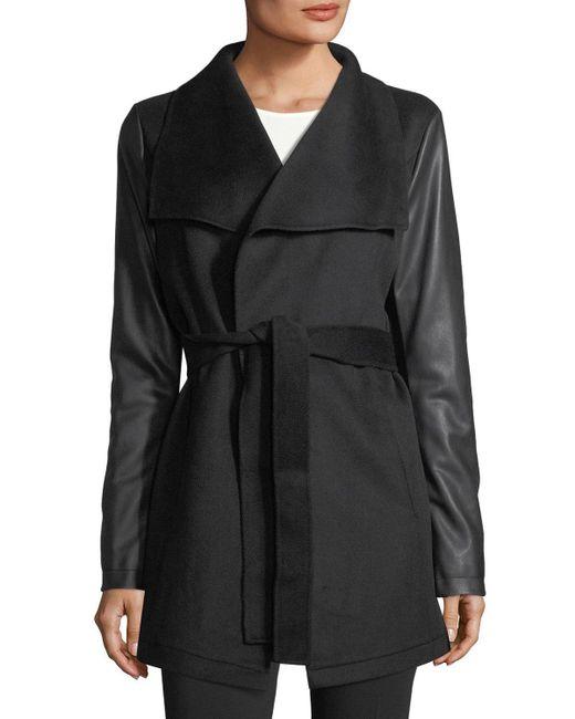 Laundry by Shelli Segal | Black Faux-leather Sleeve Wool Wrap Jacket | Lyst