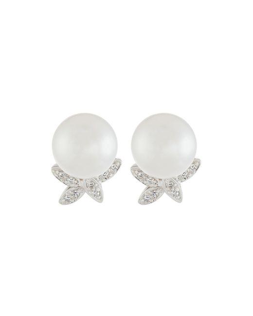 Belpearl   White 14k 9mm Freshwater Pearl & Diamond Stud Earrings   Lyst