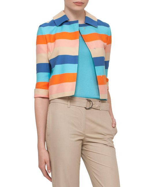 Akris Punto | Multicolor Striped 3/4-sleeve Cropped Jacket | Lyst