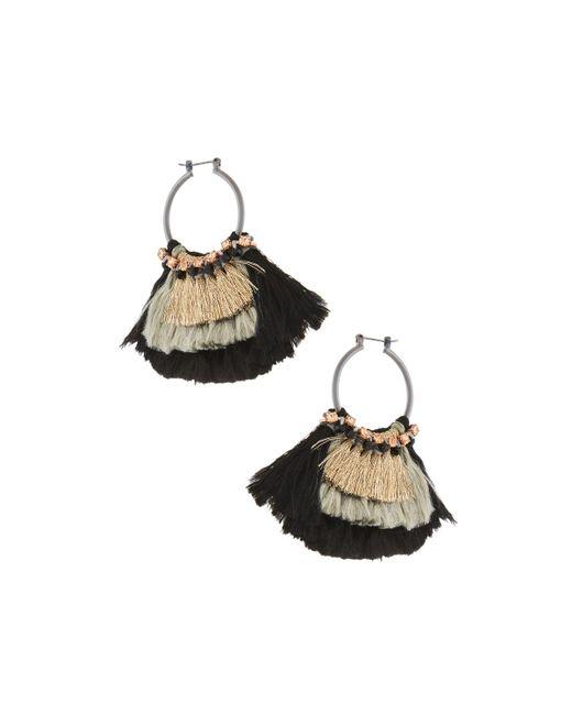 Nakamol - Black Two-tone Tassel Hoop Earrings - Lyst