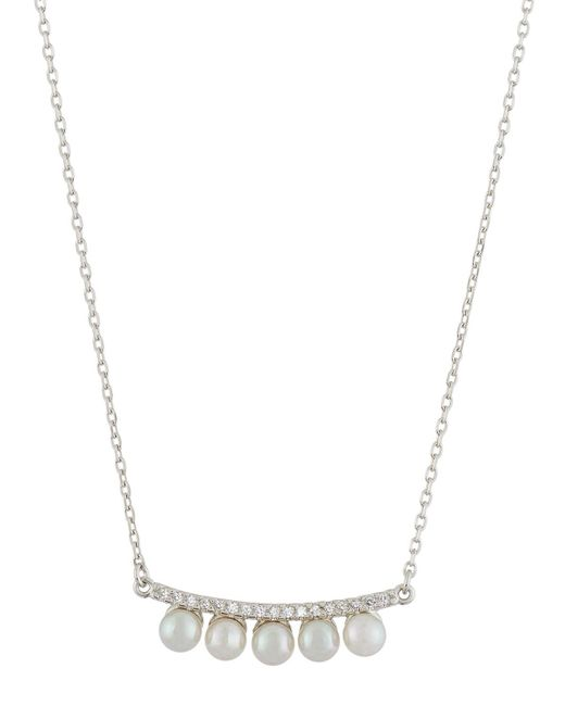Majorica - White Curved Crystal & Pearl Bar Pendant Necklace - Lyst